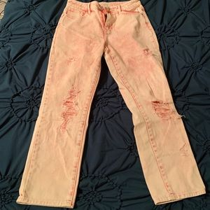 Pink distressed mom jeans